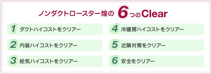 ノンダクトロースター煌の6つのclear